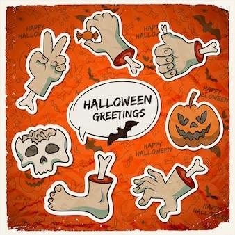 Truco o trato plantilla de halloween con gestos de brazos de zombie de papel cráneo de calabaza