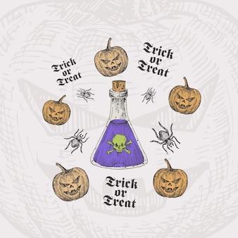Truco o trato plantilla de tarjeta de halloween con botella de veneno, calabazas y arañas