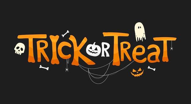 Truco o trato texto con elementos tradicionales. ilustración de vacaciones sobre fondo negro para el día de halloween.