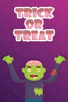 Truco de trato con pequeño zombi