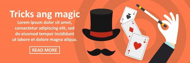 Trucos y concepto horizontal de banner mágico
