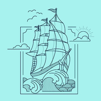 True sailing line art