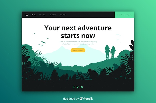 Tu próxima aventura comienza la página de destino