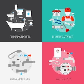 Tubería y servicio de reparación de calefacción y fregadero desagüe kit de limpieza elementos planos composición vector aislado ilustración