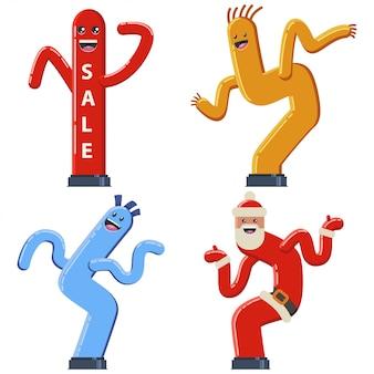 Tubo de baile inflable hombre vector de dibujos animados conjunto plana