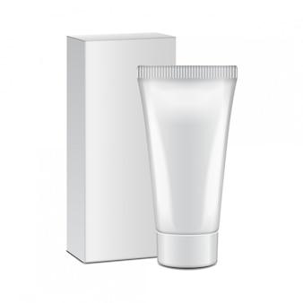 Tubo con caja blanca de crema, gel, cuidado de la piel, pasta de dientes. listo para su diseño. plantilla de embalaje