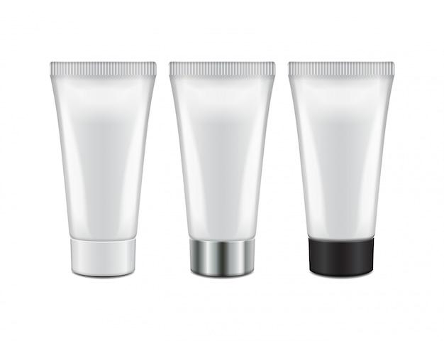 Tubo con cápsulas de diferentes colores: crema, gel, cuidado de la piel, pasta de dientes. listo para tu. plantilla de embalaje