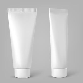 Tubo cosmético blanco en blanco aislado sobre fondo gris. ilustración vectorial