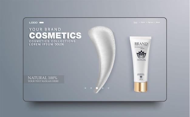 Tubo cosmético blanco en blanco