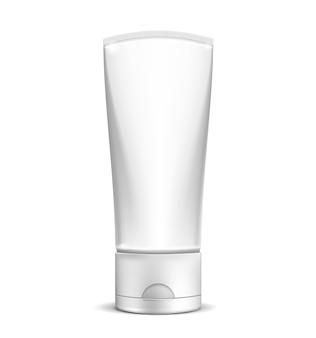 Tubo de crema blanco en blanco
