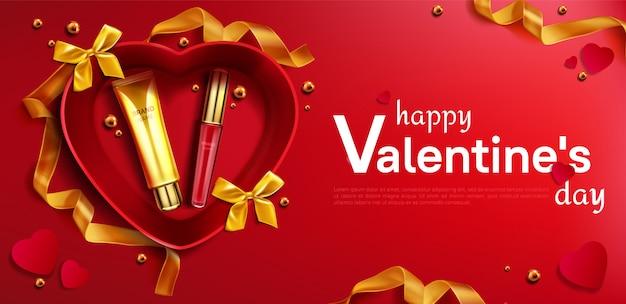 Tubo de crema cosmética y lápiz labial para el día de san valentín