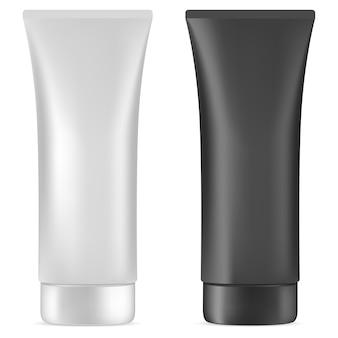 Tubo de crema. paquete cosmético plástico en blanco