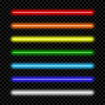 Tubo de luz de neón. conjunto de lámpara de neón de colores. ilustración vectorial.