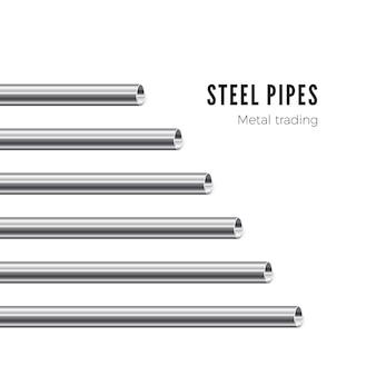 Tubo de metal. bandera de tubos de acero