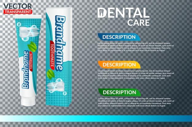 Tubo de pasta de dientes y cepillo de dientes.