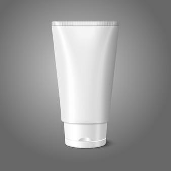 Tubo realista blanco en blanco para ilustración de cosméticos