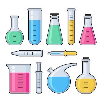 Tubo de vidrio de ensayo de laboratorio de ciencias químicas y conjunto de matraces