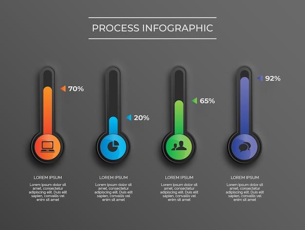 Tubos de color degradado de proceso de infografía de tema oscuro vector premium