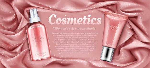 Tubos cosméticos de agua de rosas y crema.