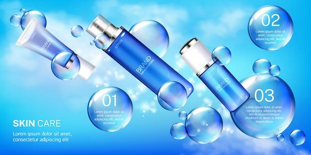 Tubos cosméticos con plantilla de banner de burbujas