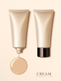 Tubos cosméticos de plástico en blanco con elementos de crema, ilustración