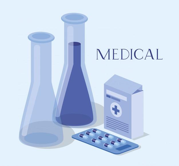 Tubos médicos pruebas drogas con caja de medicamentos