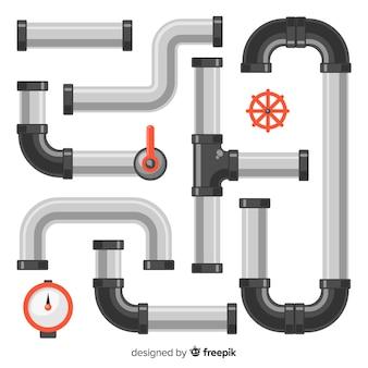 Tubos de metal en diseño plano
