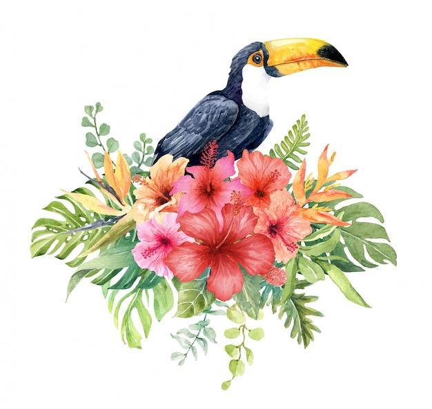 Tucán acuarela en ramo de flores de hibisco