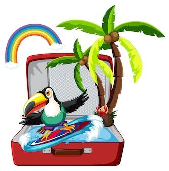 Tucán surfeando en maleta