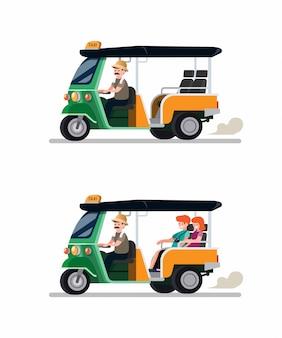 Tuk tuk rickshaw transporte tradicional de tailandia con conductor y conjunto de iconos de pareja de turistas. ilustración de vector plano de dibujos animados