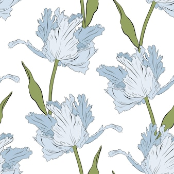 Tulipanes azules de felpa. patrón sin costuras. ilustración de vector dibujado a mano. arte lineal. textura para impresión, tela, textil, papel tapiz.