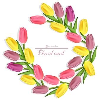 Tulipanes guirnalda tarjeta floral. diseños de flores de colores