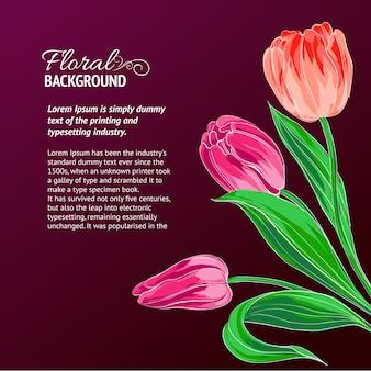 Tulipanes rojos y lugar de texto.