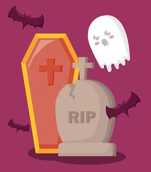 Tumba con ataúd e iconos de halloween.