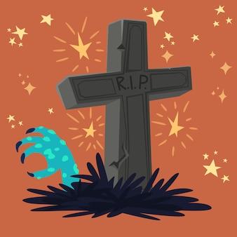 Tumba de cementerio de halloween