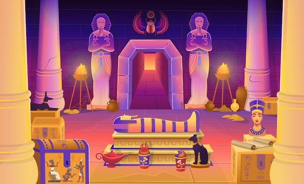 Tumba del faraón de egipto con un sarcófago, cofres, estatuas del faraón con el ankh, una figura de gato, perro, nefertiti, columnas y una lámpara. ilustración de dibujos animados para juegos.