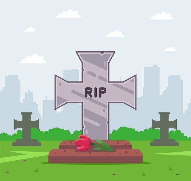 Tumba fresca en el cementerio. tumba cruz. plano