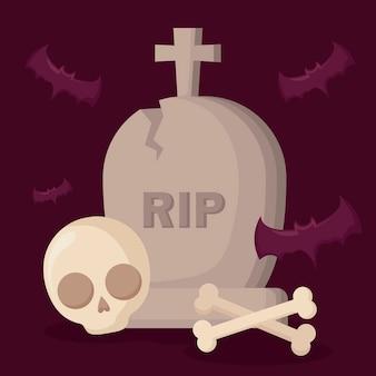 Tumba de halloween con calavera y murciélagos.