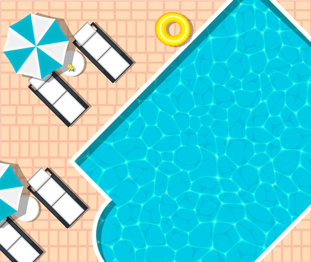 Tumbona de playa cerca de la refrescante piscina