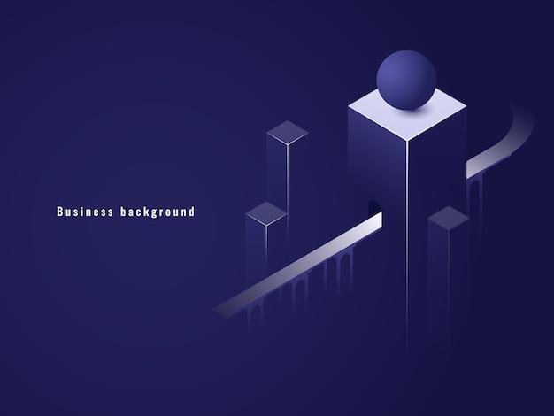 Túnel isométrico, concepto de negocio, carretera.
