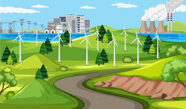 Turbina de viento y escena de carretera larga