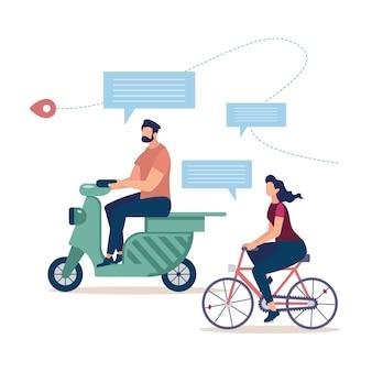 Turismo de bicicleta, viajando en concepto de scooter