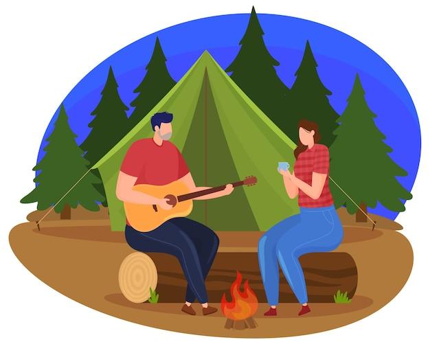 Turismo. un hombre y una mujer están sentados junto al fuego por la noche, un hombre toca la guitarra. estilo de dibujos animados