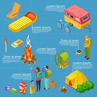 Turismo, plantilla de banner de información isométrica de camping