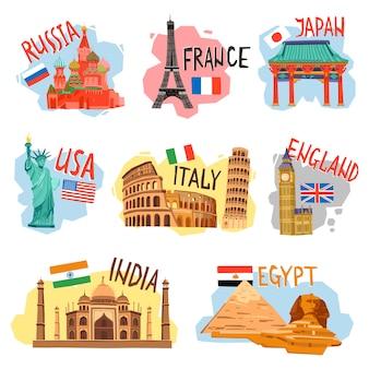 Turismo vacaciones viajes plano pictogramas conjunto