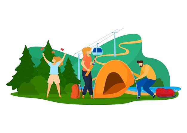 Turismo verde, concepto de viaje familiar, paisaje colorido, naturaleza en verano, ilustración de estilo de dibujos animados, aislado en blanco. actividades al aire libre, escalada de montaña, vacaciones de personas en el bosque,