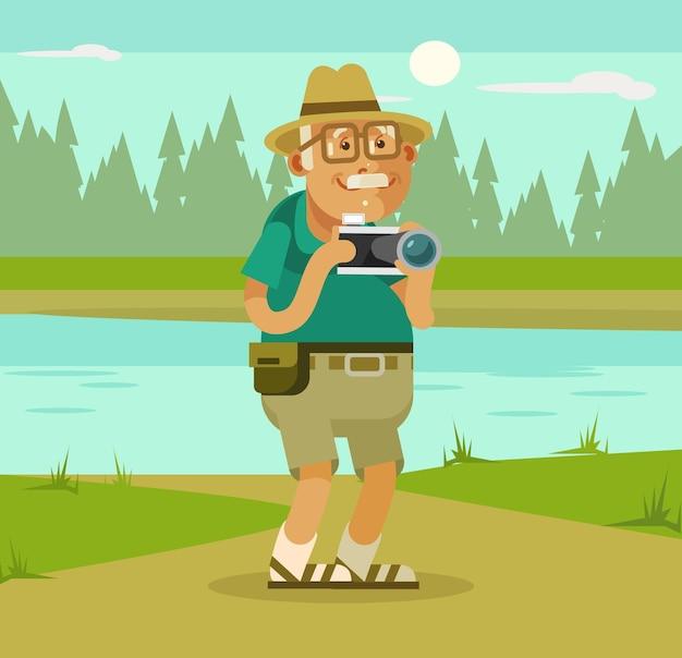 Turista de abuelo con cámara en la ilustración de dibujos animados de fondo de naturaleza