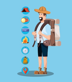 Turista de hombre con bolsa de camping y establecer iconos
