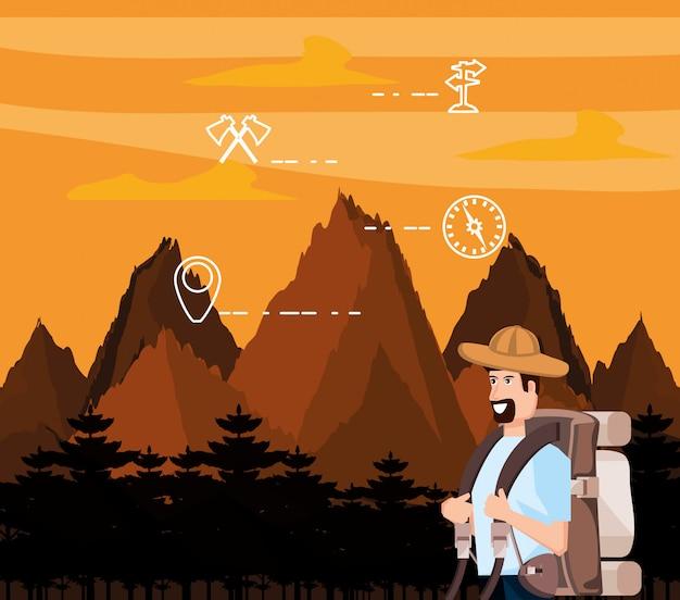 Turista de hombre en paisaje con set de iconos