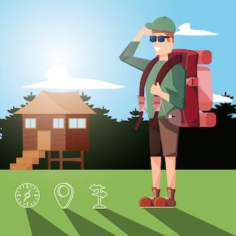 Turista de hombre en zona de camping y establecer iconos
